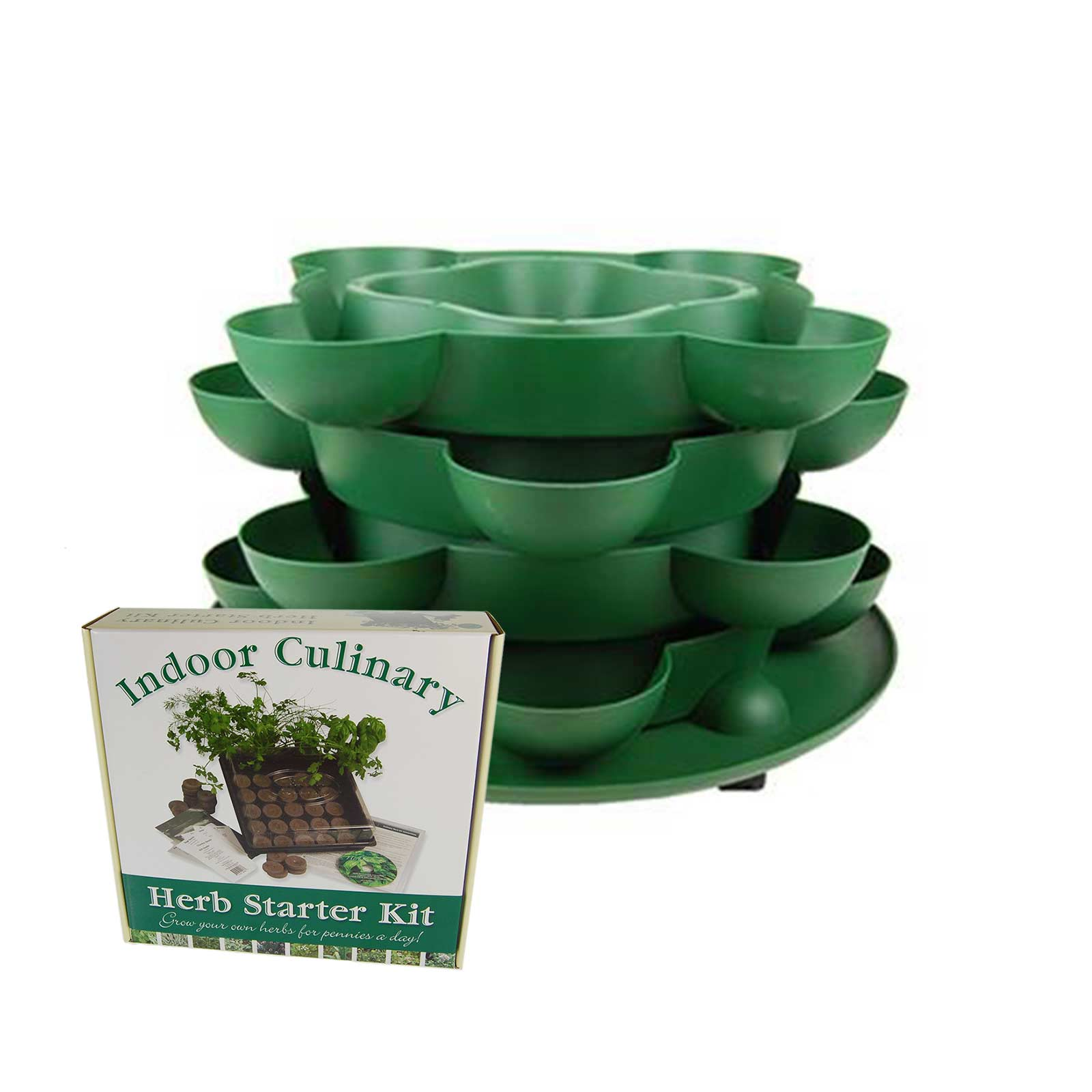 Culinary Herb Garden Kit With Stack U0026 Grow Stackable Planter U2013 Green