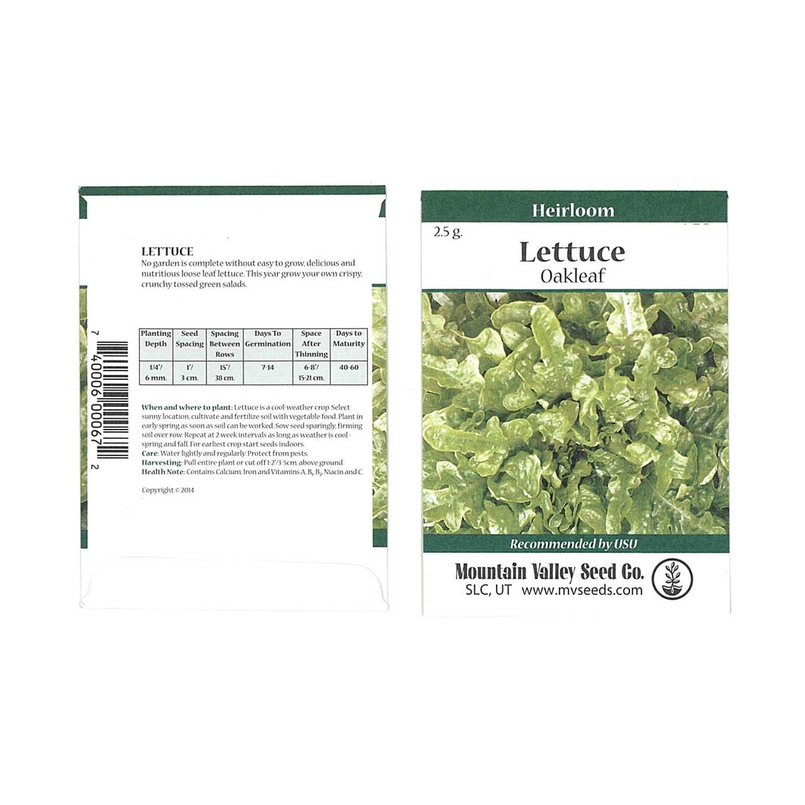 Leaf Lettuce Garden Seeds – Oakleaf – 2 5 g Packet – Non-GMO