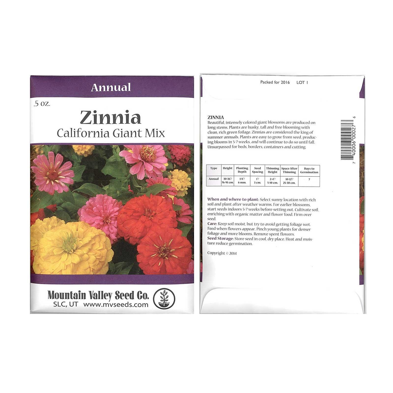 Zinnia Flower Garden Seeds California Giant Mix 05 Oz Annual Flower
